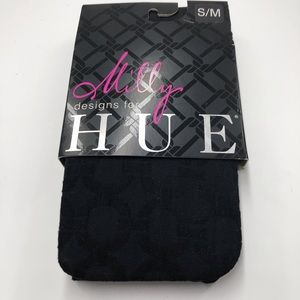 NWT Milly Hue Black Tights w/Chain Design Size S/M